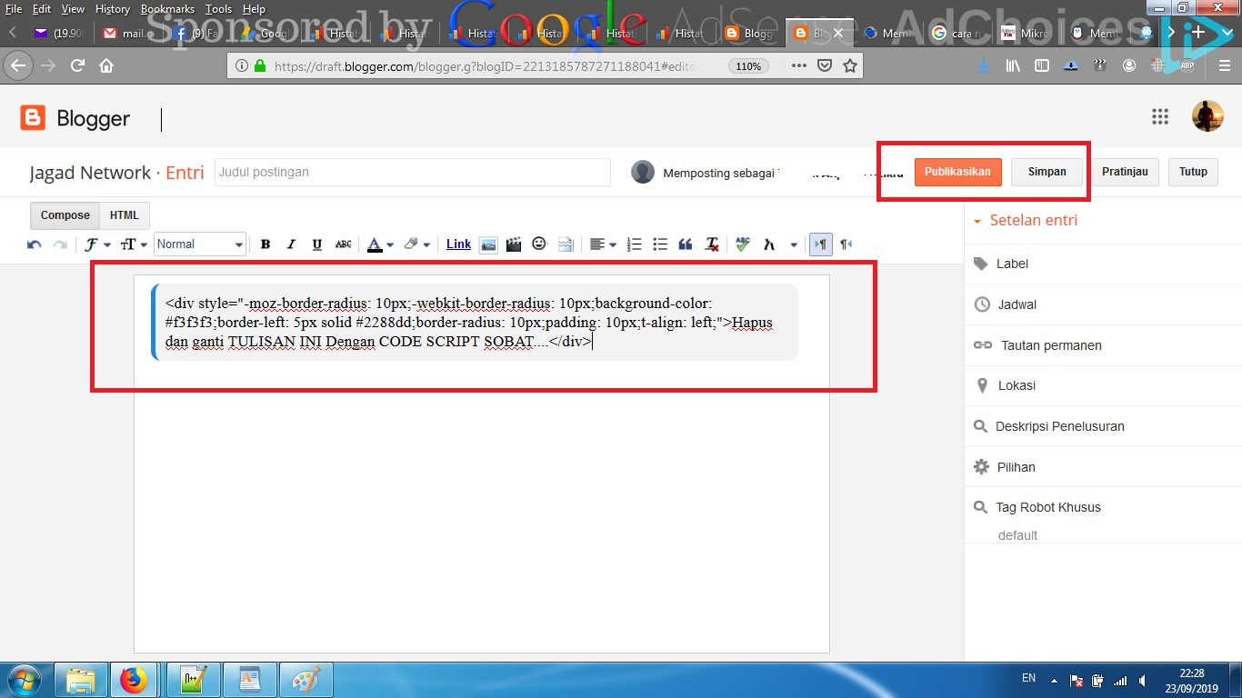 Cara Mudah Membuat Kotak Untuk Menulis Kode Script Di ...