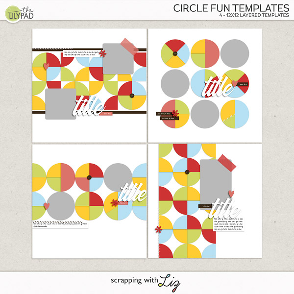 Digital Scrapbook Templates - Circles