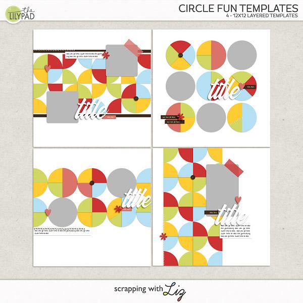 Digital Scrapbook Templates - Circles