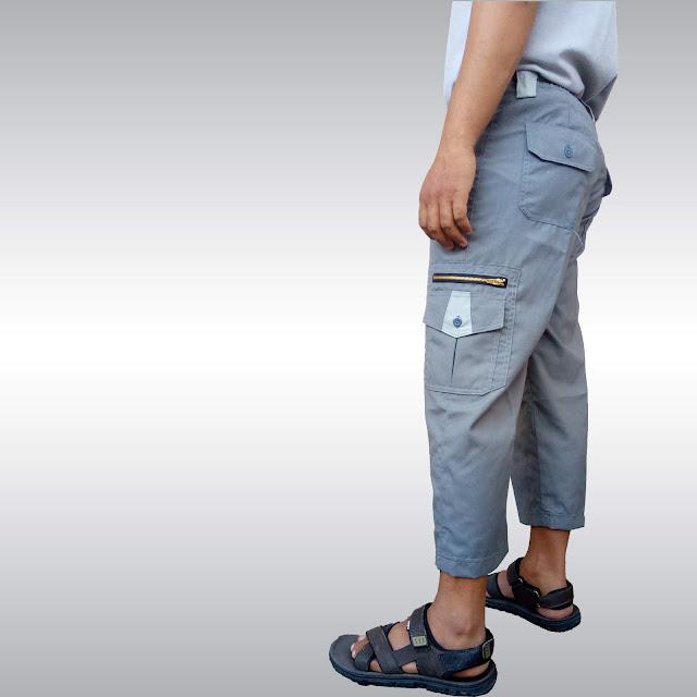 Celana Sirwal Cargo Katun Abu Tua