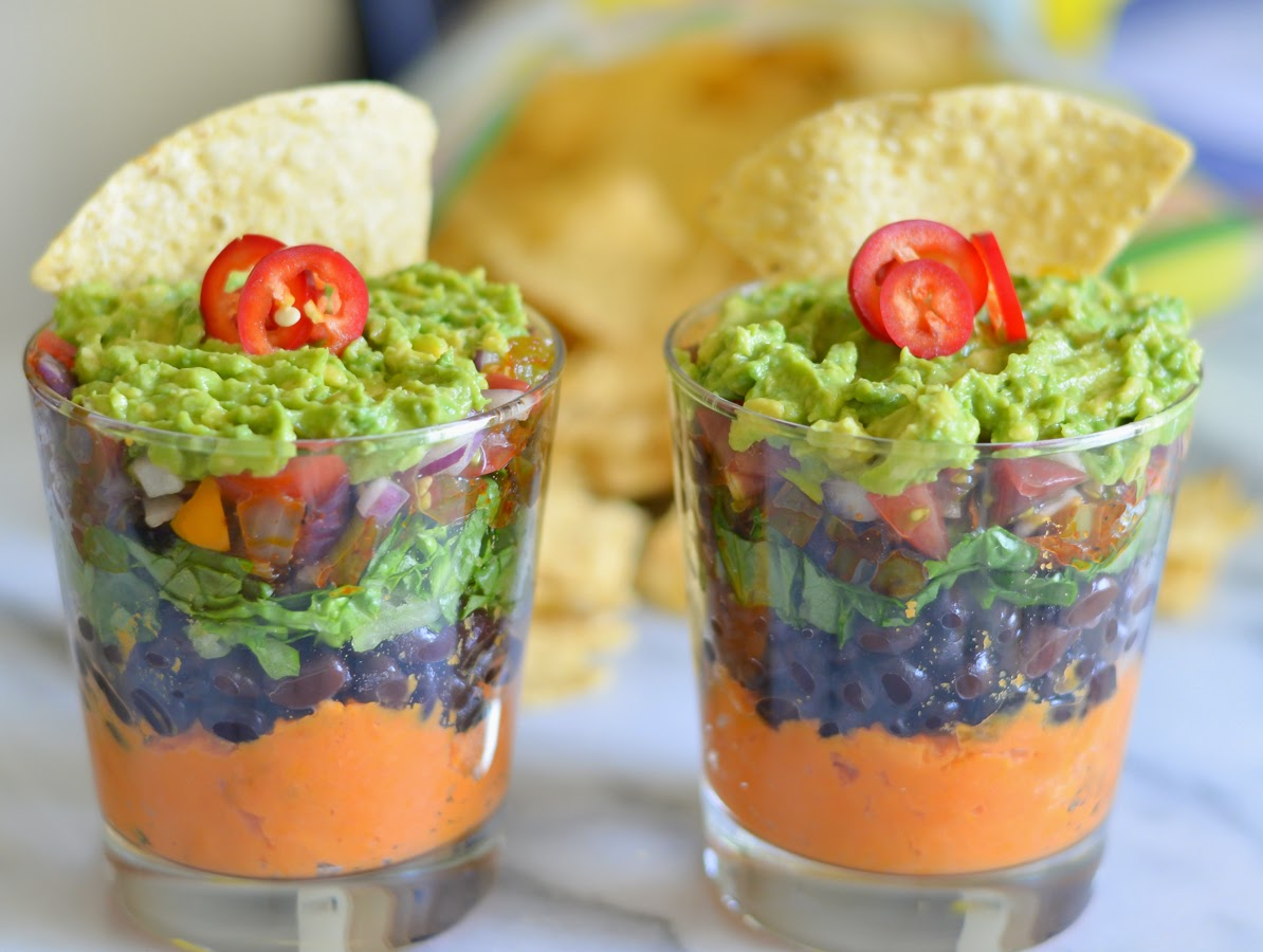 7 Layer Sweet Potato Bean Dip | vegan, dairy free, and gluten free appetizer for Cinco de Mayo | Luci's Morsels :: LA Healthy Food Blog