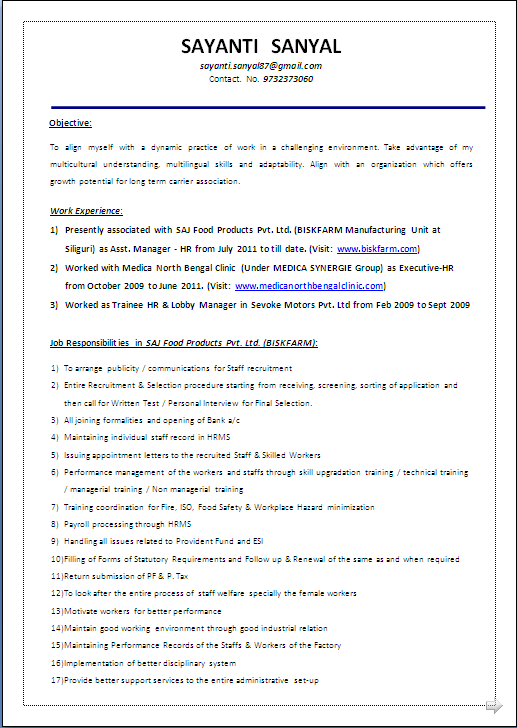 RESUME BLOG CO MBA HR with 4 years Experience BEAUTIFUL