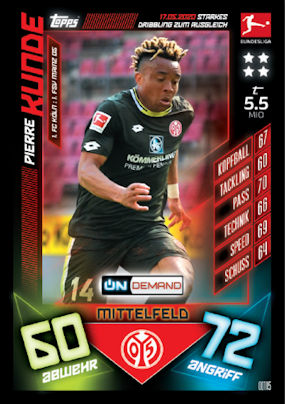 Topps Match Attax Bundesliga 2019//2020 OD134  Bittencourt  On Demand