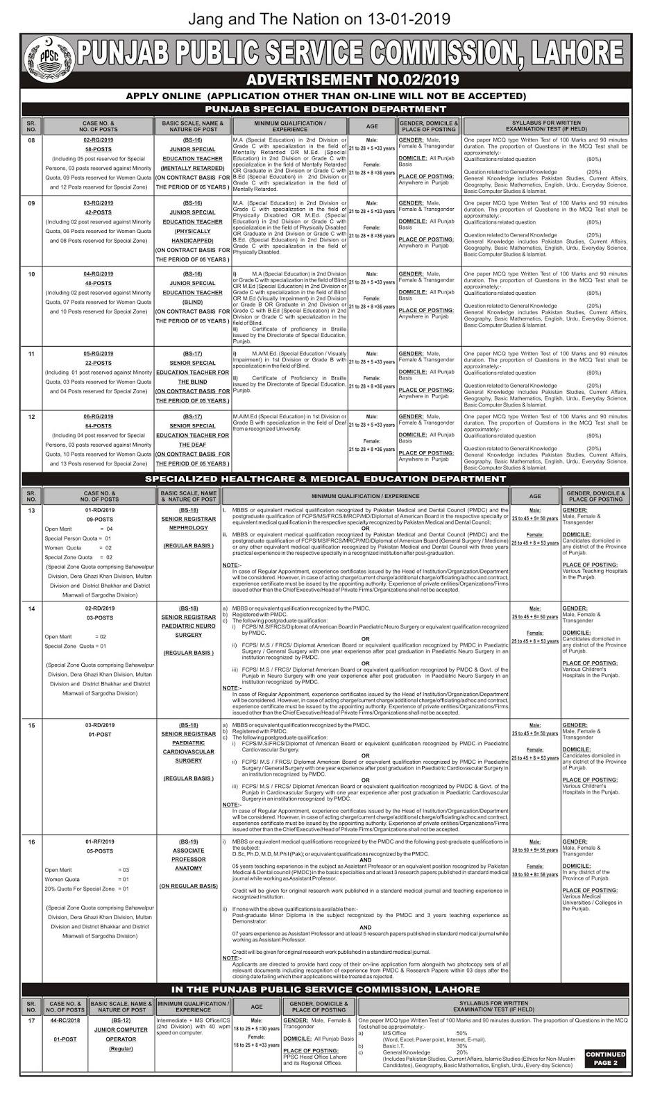234 PPSC Jobs in Punjab Education Department 2019 - Jobs24pk com New