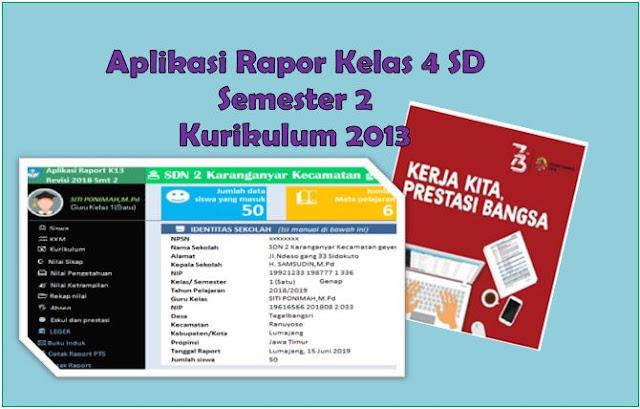 Aplikais Rapor Kurikulum 2013 Kelas 4 SD Semester 2