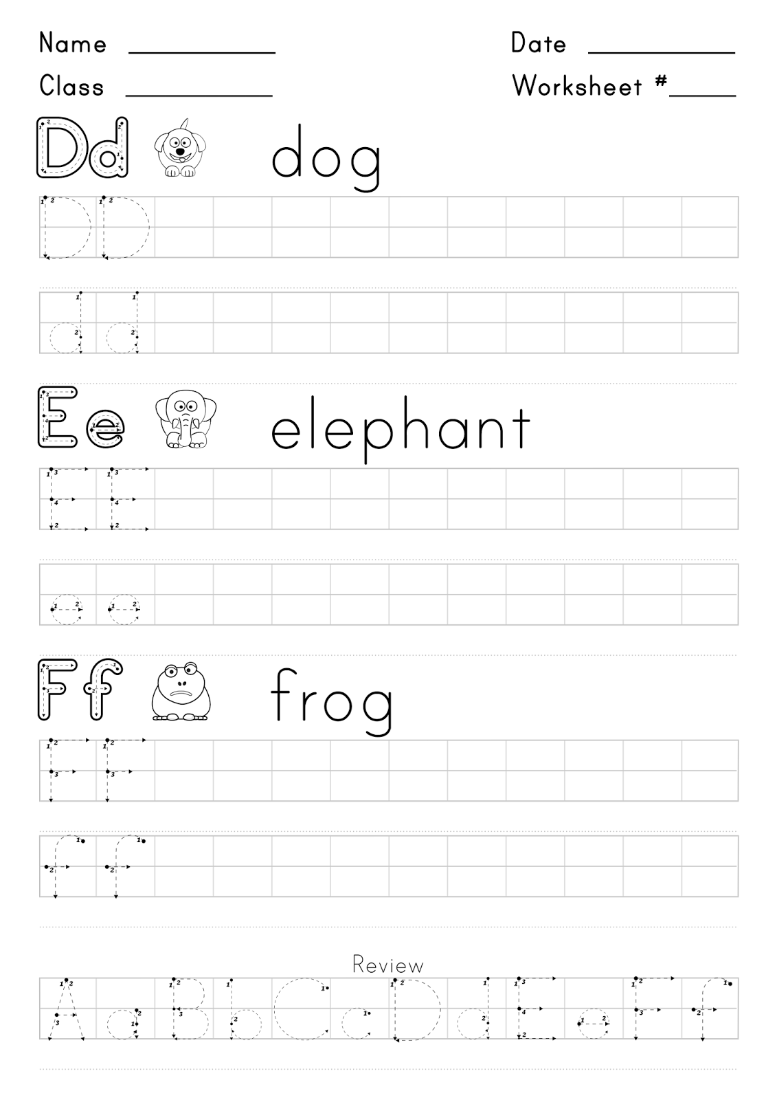 Worksheet For Writing The Letters D E And F