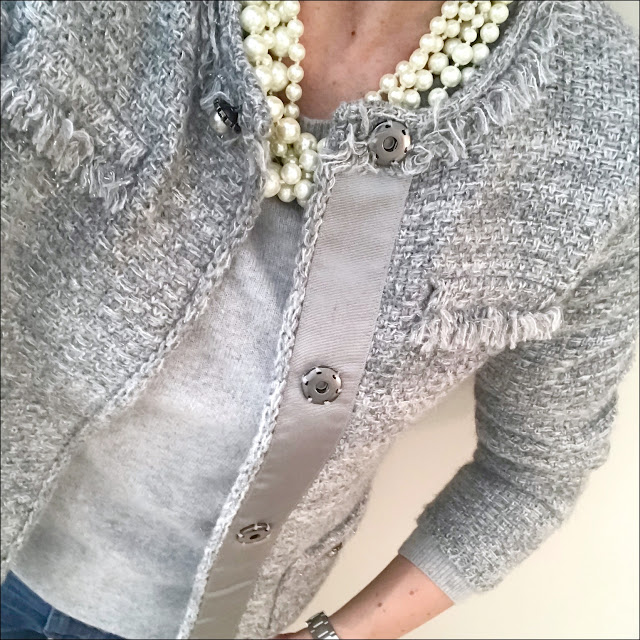 My Midlife Fashion, Knitted boucle jacket, marks and spencer pure cashmere crew neck jumper, j crew twisted hammock pearl necklace, j crew cropped jeans, leopard print pointed ballet flats