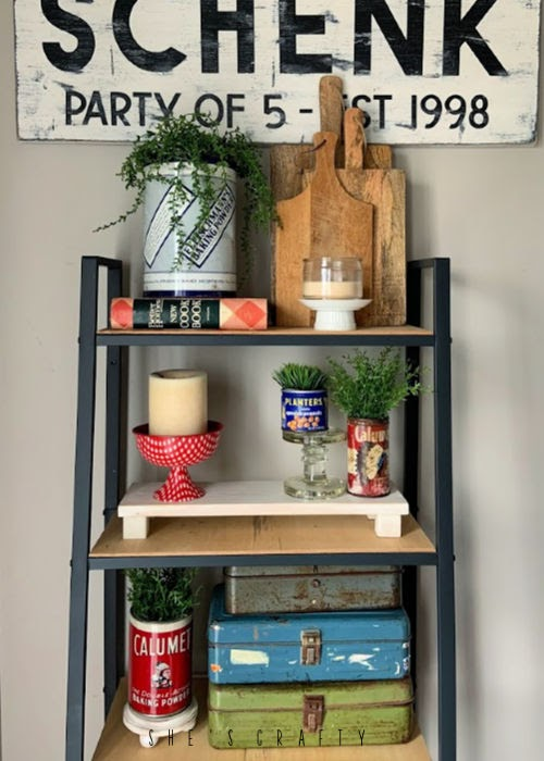 How to make risers for home decor - use wood risers to add levels to a farmhouse vignette