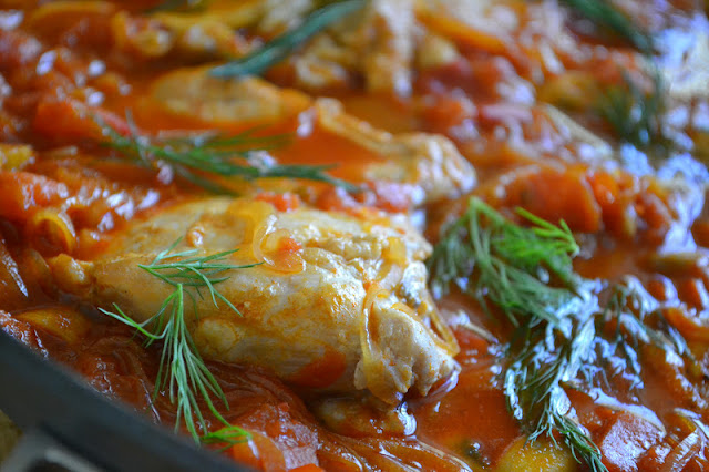 Chicken Paprikás in a skillet