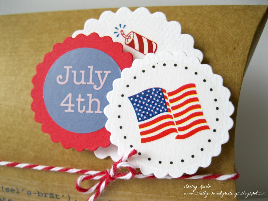 SRM Stickers Blog - Patriotic Pillow Box by Shelly - #kraft #pillowbox #4thofJuly #patriotic #twine #stickers #punchedpieces