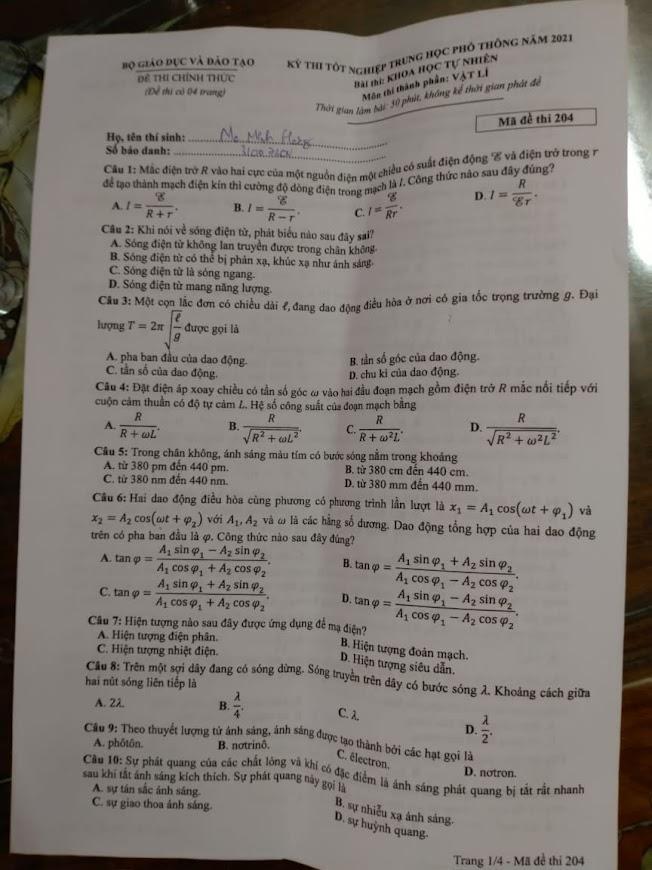 Đề thi Tốt nghiệp THPT 2021 môn vật lý