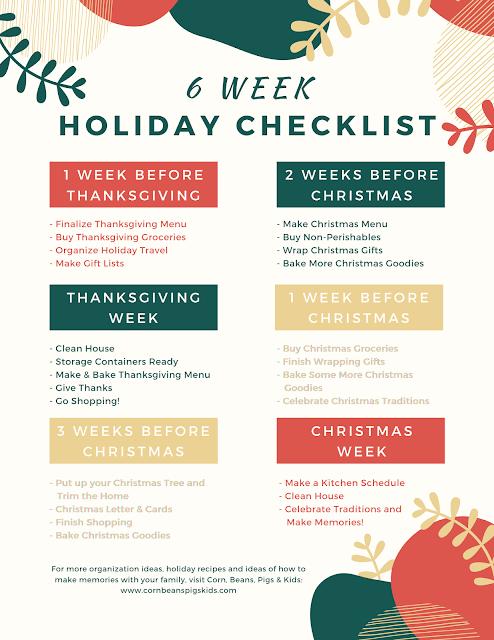 6 Week Holiday Checklist + FREE Printable