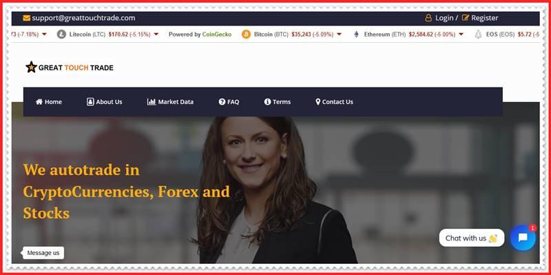 Мошеннический сайт greattouchtrade.com – Отзывы, развод, платит или лохотрон? Мошенники