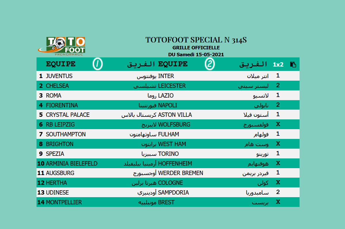 PRONOSTIC TOTOFOOT 14 Spécial N° 314S