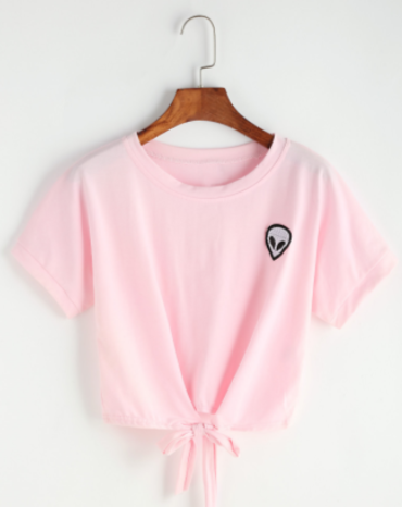 Tie Front Crop Tee With Alien Patch