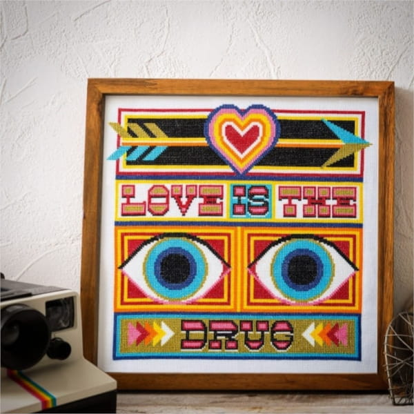 Love is the drug typography cross stitch design
