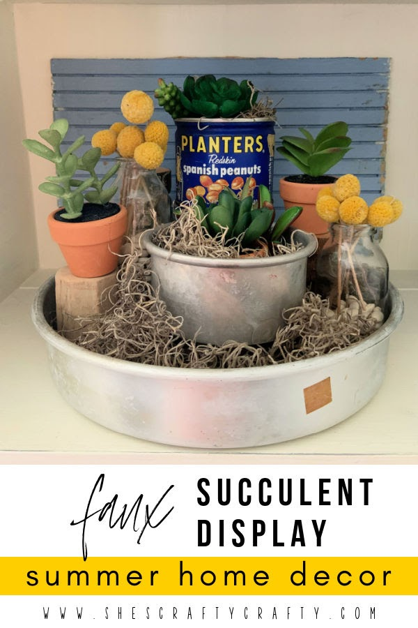 faux succulents, tiered display faux succulents, billy balls, summer home decor