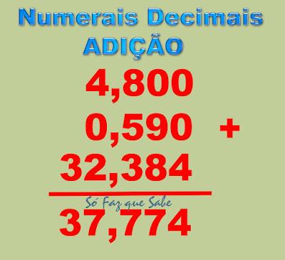 Regra prática para fazer somas com números com vírgulas