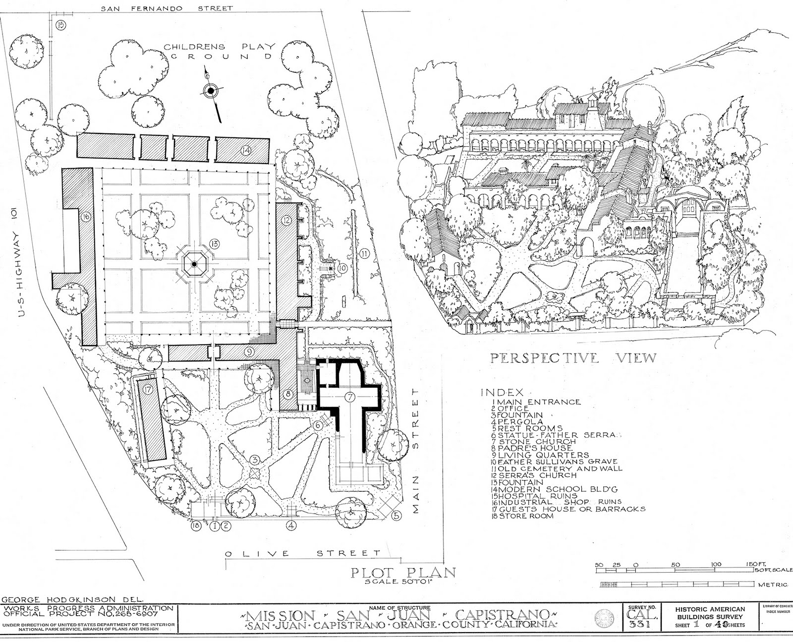 This is the plot plan for mission san juan capistrano created as part of a works progress administration's historic american buildings survey habs