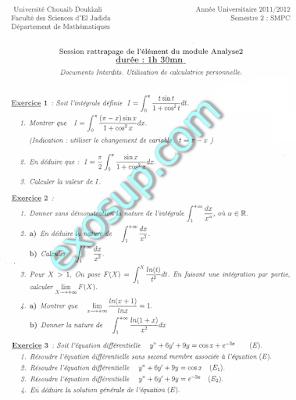 examens corrigés analyse II smpc s2
