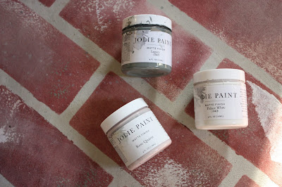 faux brick and Jolie paint sample jars
