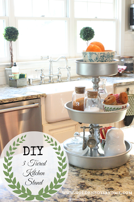 3 tiered kitchen stand DIY on kitchen island. More ideas for tiered stands in this post.