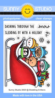 Sunny Studio Sledding Critters Sleigh 3x4 Clear Photopolymer Stamp Set