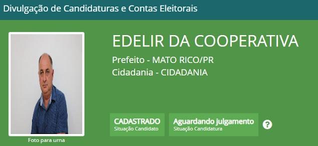 Candidaturas de Edelir da Cooperativa e Inez do Posto são informados no site do TSE