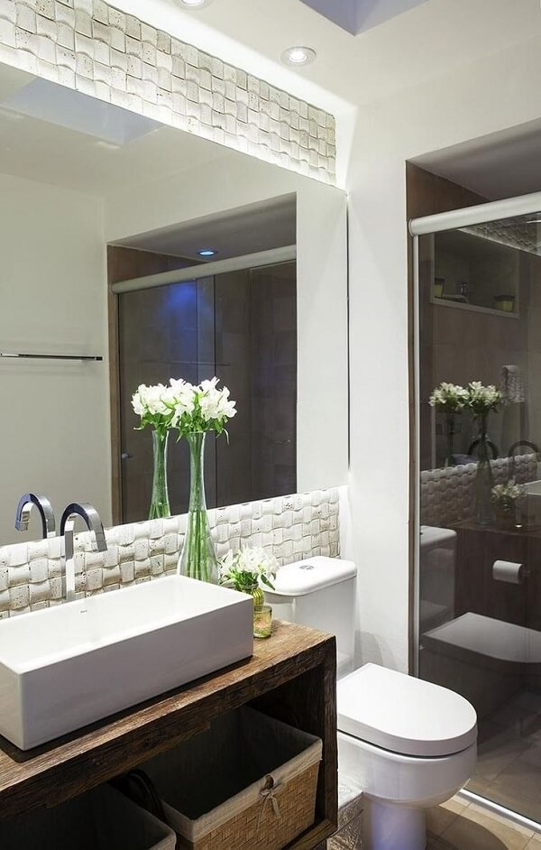 3D bathroom tile with built-in lighting transforms this space