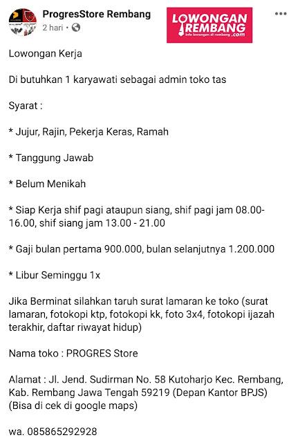 Lowongan Kerja Admin Toko Distro PROGRES Store Rembang