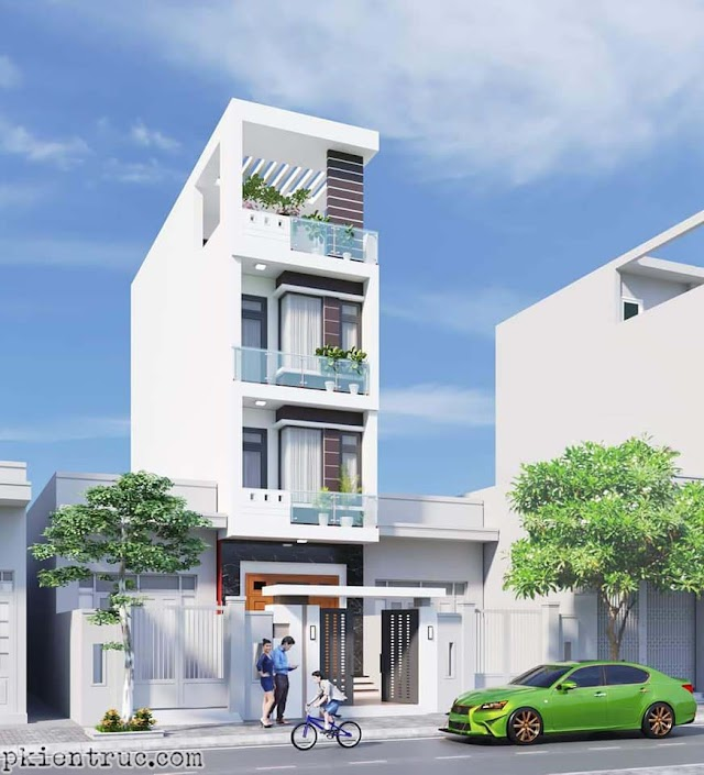 File mẫu 3d nhà phố mặt tiền phổ thông rộng 4 mét- 3 tầng