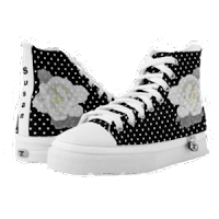 Lovely White on Black/White Polka-dot High Tops