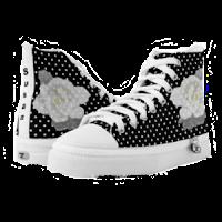 Lovely White on Black/White Polka-dot High Tops