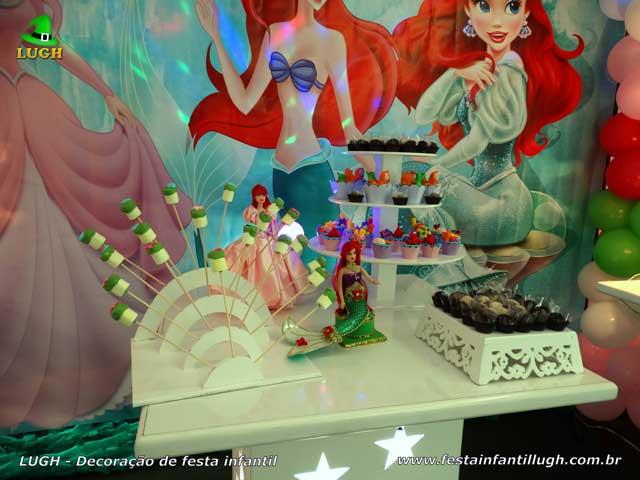 Decoração de aniversário tema Ariel - Mesa decorada para festa infantil