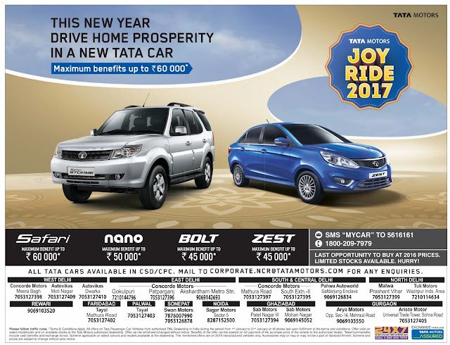 Tata Cars with 2016 prices with amazing offers and benefits | January 2016 sankaranthi festival discount sale