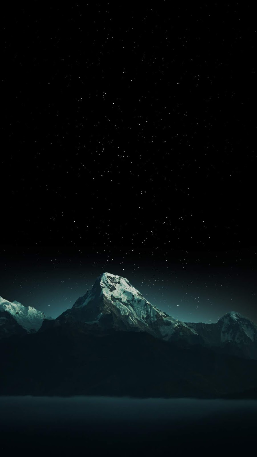 Mountain in the starry night