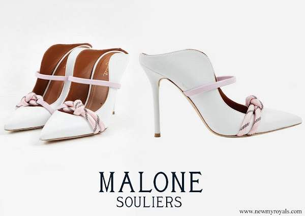 Queen Rania wore Malone Souliers Maureen pumps in white leather with pink bands and bow