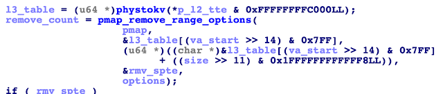 Decompiler output showing a call to pmap_remove_range_options().