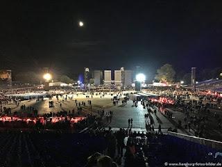 Rolling Stones Hamburg Konzertgelände Blick von der Tribüne