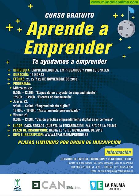 El Cabildo celebra una segunda edición de 'Aprende a emprender' para fomentar la puesta en marcha de proyectos empresariales