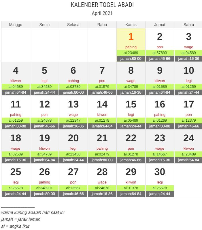 kalender togel april 2021