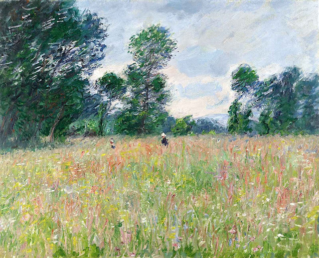 a Claude Monet painting of two people crossing a wild natural field