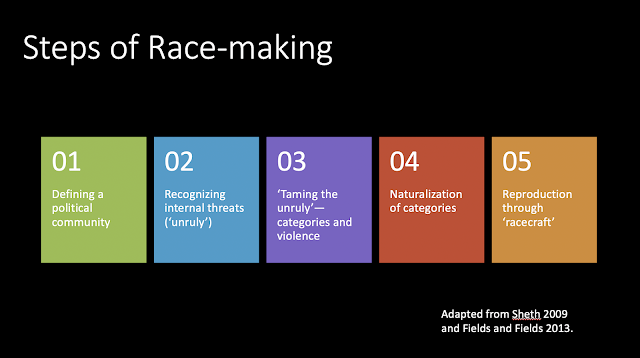 visualization of the 5 steps of race making listed in the above paragraph