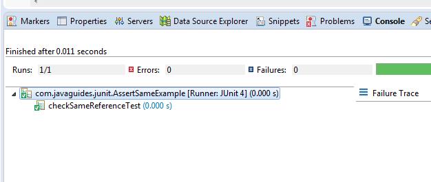 JUnit Assert assertSame() Method Example