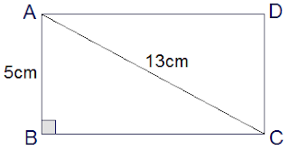 rectangle ABCD of breadth 5 cm and diagonal 13 cm