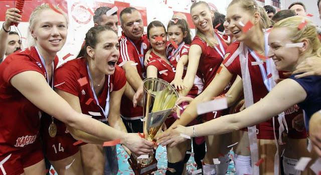 5ο σερί πρωτάθλημα για τη γυναικεία ομάδα βόλεϊ του Ολυμπιακού
