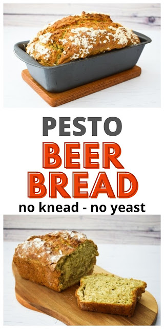 Pesto & Garlic Beer Bread - An easy no yeast, no knead pesto and garlic beer bread made quickly in one bowl, then baked. No kneading and no leaving to rise. Quick and delicious.