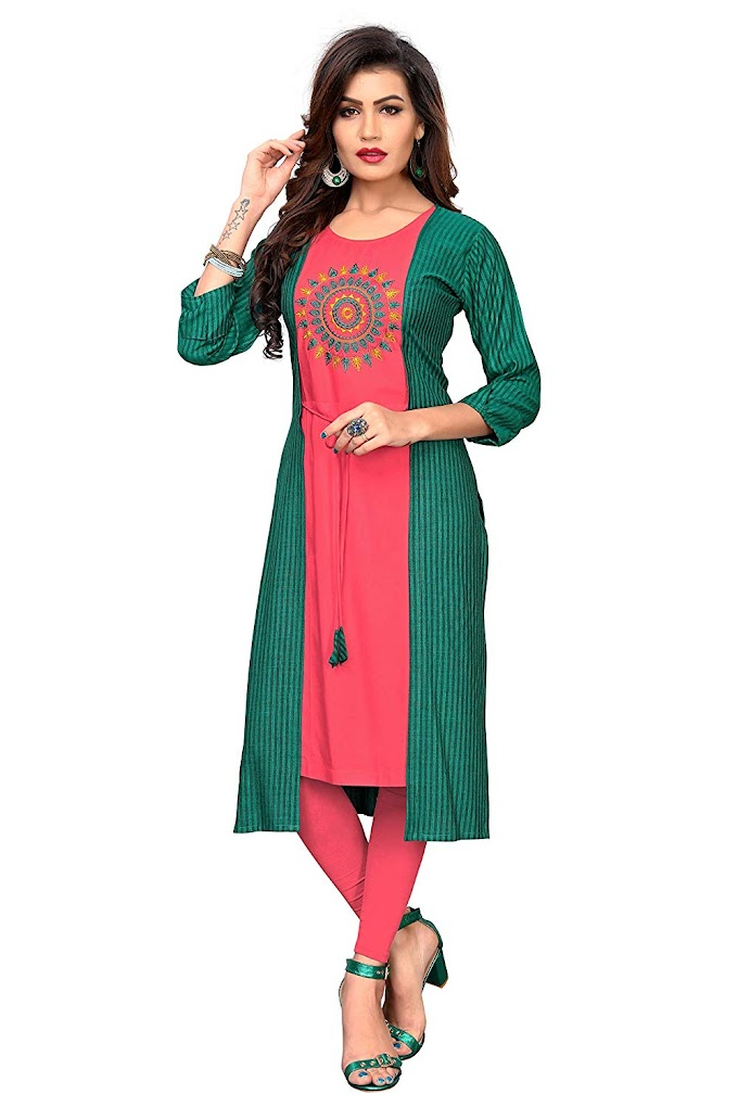 Vbuyz Women's Resham Embroidery Straight Rayon Green Kurti