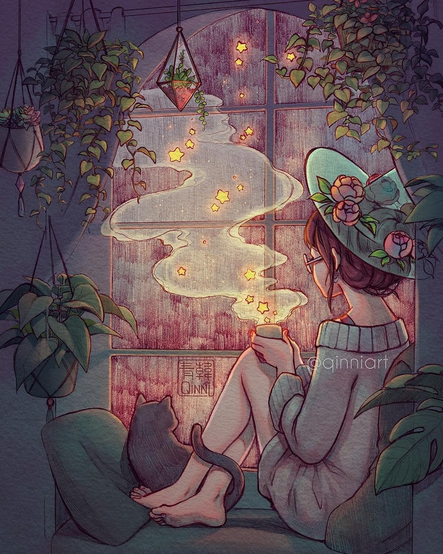 03-Rainy-nights-and-starry-teas-Qing-Han-韩青-Fantasy-illustrations-Drawn-with-Imagination-www-designstack-co
