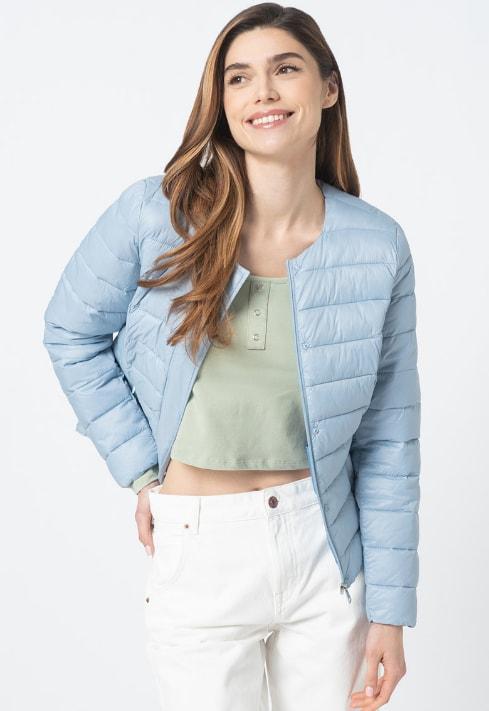 Jacheta de primvara usoara cu decolteu rotund